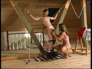 Госпожа посадила мужика на цепи и заставила его трахаться
